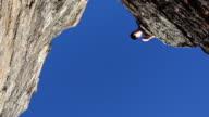Hiker leaps a gap in the rocks video