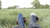 Hiker Takes Off His Boots After A Long Walk video