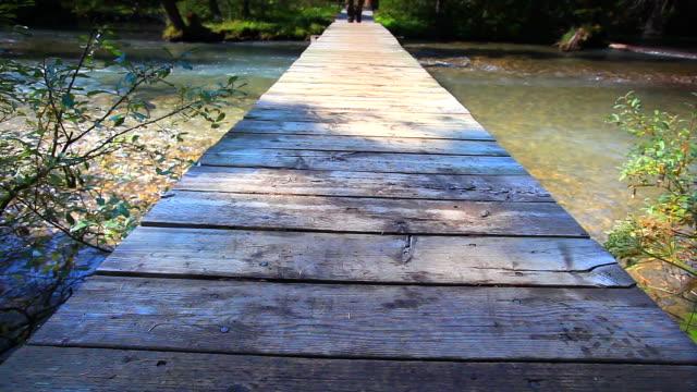 Hiker walking across wooden bridge video