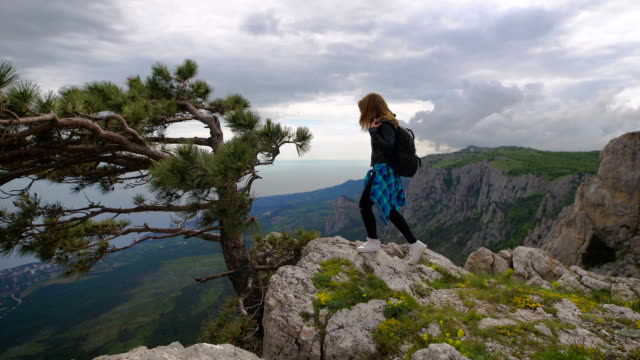 Hiker with backpack standing on top of the mountain and enjoying valley view video