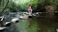 Hikers Crossing Creek video