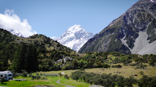 Hikers walking towards Mount Cook in the Hooker Valley. video