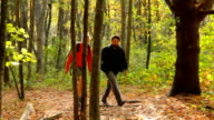Hiking through colorful fall foliage, medium shot. video