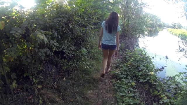 Hiking woman trekking in rainforest jungle. Rear back view of young female hiker walking on trek through rain forest near river video