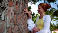 Сhild hugs and kisses the old tree in the park. video