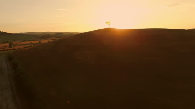 AERIAL Hill at sunset video