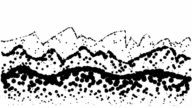 LANDSCAPE- hills, low and high mountains, pure black dots (LOOP) video
