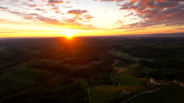 AERIAL Hilly Countryside At Dusk video