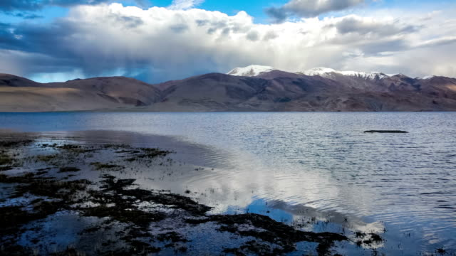 Himalayan lake Tso Moriri in Himalayas on sunset video