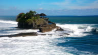 HD: Hindu temple over the sea, Tanah Lot temple in Bali, Indonesia video