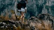 Hippie woman enjoy on mountain video