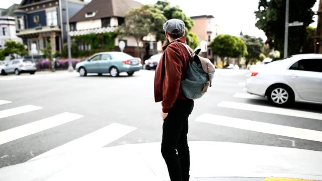 hipster crossing the street in san francisco video