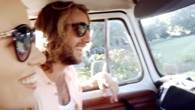 Hipster friends in camper van video