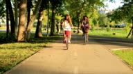 Hipster friends on bikes with baskets full of flowers video