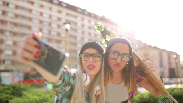 Hipster girlfriends funny selfie video