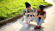 Hipster girls having fun video
