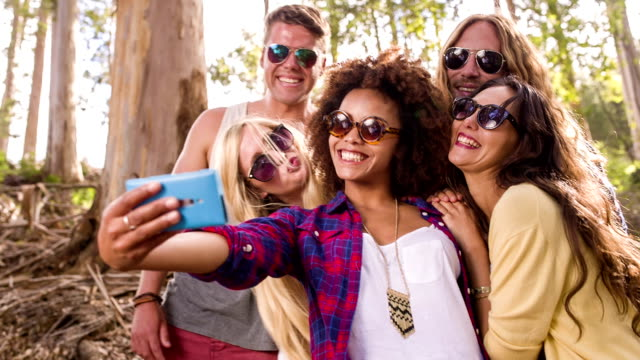 Hipster group is taking selfies video