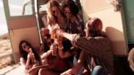Hipster Multi-Ethnic Group  toasting beer in Back of Van Drinking Beer video