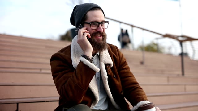 hipster talking on the phone video