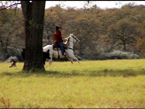 Hispanic Cowboy Rides White Horse on Texas Ranch video