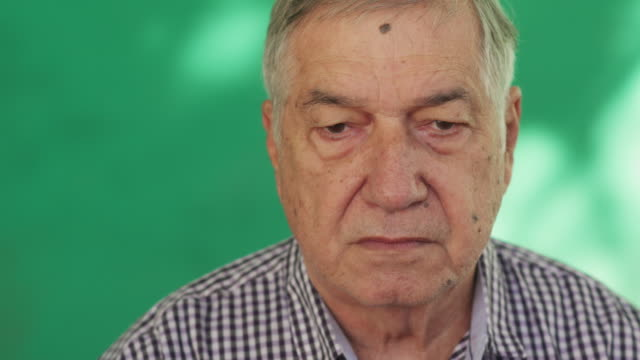 Hispanic Elderly People Portrait Worried Senior Man Face Expression video