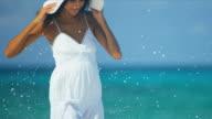 Hispanic Girl Walking Outdoors Beach video