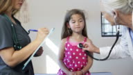 Hispanic Girl's Pediatrician Visit, Stethoscope video