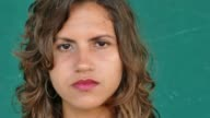 38 Hispanic People Portrait Young Sad Woman Face Expression video