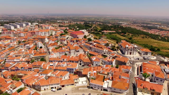 Historic centre of Palmela aerial view Portugal video