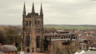 A Historic Church rises from the rooftops of Tamworth video