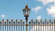 Historic street lighting with fence Vienna video