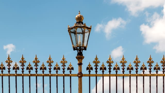 Historic street lighting with fence Vienna video