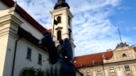 Historical monuments. Statue of a horse with a rider in Brno in the Czech Republic. video