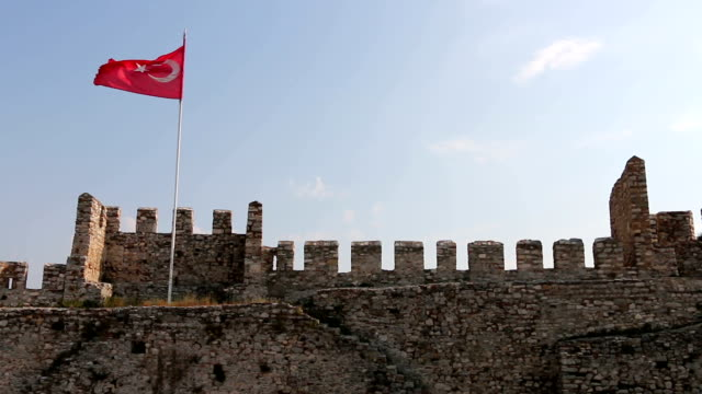 Historical Secuk Castle and Turkish Flag video