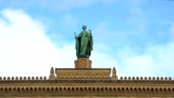 Historical statue atop district government of Upper Bavaria in Munich, Germany video