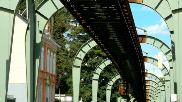 Historical suspension railway in Wuppertal, special steel construction video