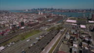 Hoboken and Jersey City Aerials, NYC Skyline In Background Flying Towards River video