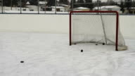 Hockey pucks shot into empty net video