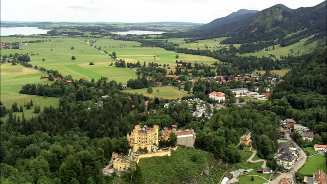 Hohenschwangau Castle  - Aerial View - Bavaria,  Swabia,  Landkreis Ostallgäu helicopter filming,  aerial video,  cineflex,  establishing shot,  Germany video
