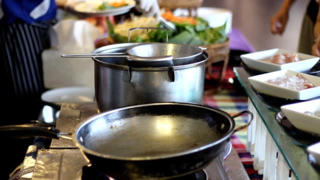 Hokkien-style fried noodles in the buffet line video