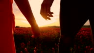 SLO MO Holding hands while walking at sunset video