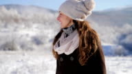 Holiday Cheer Young Woman Smiling Snow Winter Outdoors Weather video