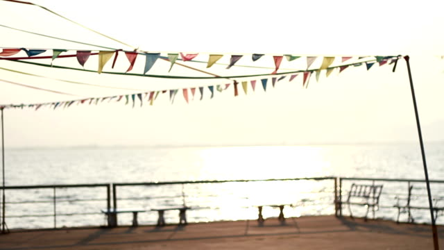 Holiday, festive flags on the beach video