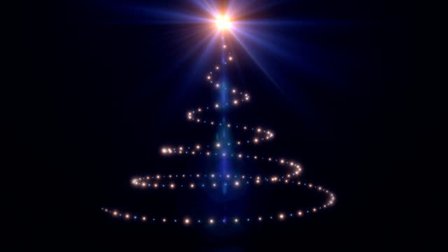 Holiday lights forming a Christmas tree, glowing flare video