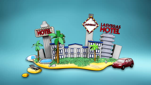 Holiday of Lasvagas hotel, icon, casino, swimming, city tour. illustration video