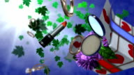 holiday rotating gift box with makeup accessories and flowers video