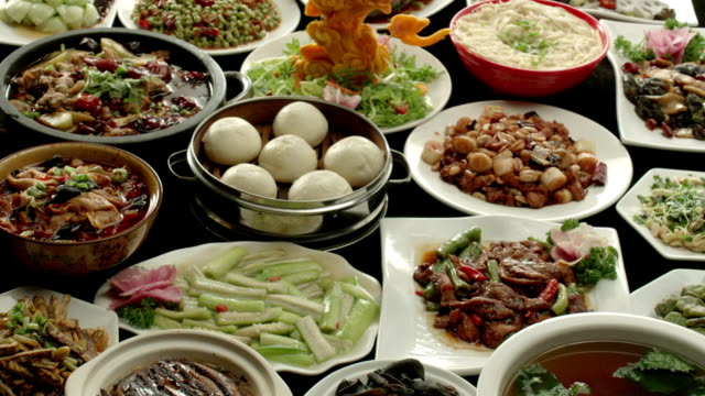 Holiday table, Chinese family dinner video