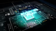 Hologram typo 'Business Plan' on CPU chip circuit, artificial intelligence. video