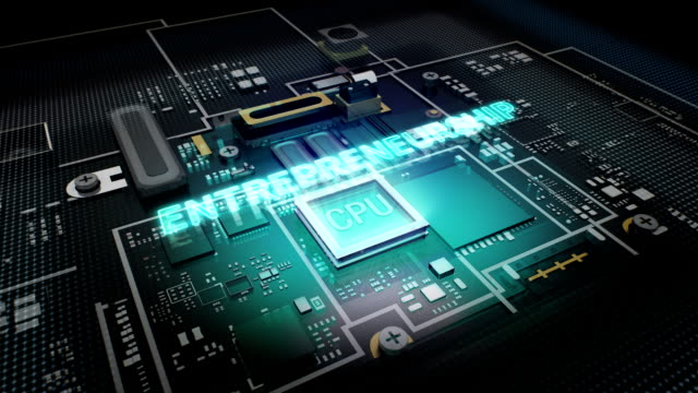 Hologram typo 'Entrepreneurship'  CPU chip circuit, grow artificial intelligence. video