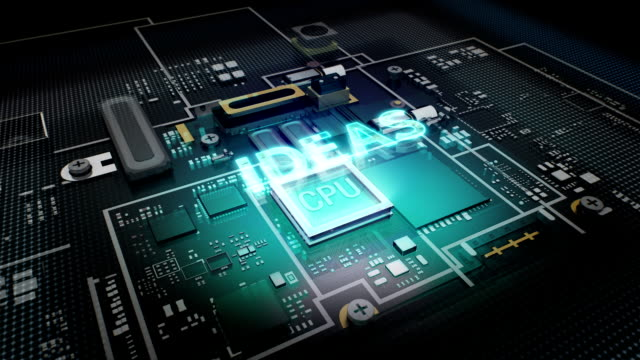 Hologram typo 'IDEAS'  CPU chip circuit, grow artificial intelligence. video